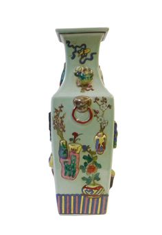 Chinese Light Green Dimensional Color Graphic Square Porcelain Vase cs1430S