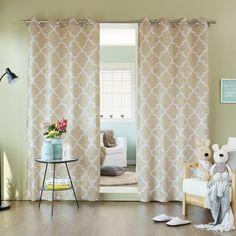 "Amazon.com - Best Home Fashion Moroccan Print Velvet Curtains - Stainless Steel Nickel Grommet Top - Orange - 52""W x 84""L - (Set of 2 Panels) -"