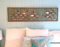 Wood School of Fish Wall Art or Headboard Queen by CastawaysHall