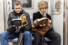 Check this out!  The Underground New York Public Library: A visual library featuring the Reader-Riders of the NYC Subways.
