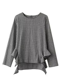 Specifications: Gender:Women Collar:O-Neck Sleeve Length:Full Style:Casual Fabric Type:Broadcloth Decoration:Ruffles Clothing Length:Regular Sleeve Style:Regular Material:Polyester Pattern Type:Plaid Collars For Women, Blouses For Women, Latest Street Fashion, Latest Fashion For Women, Summer Work Outfits, Apron Dress, Blouse Online, Affordable Clothes, Ruffle Top