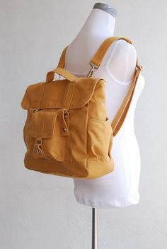 SALE 15% Off - Pico2 Backpack Convertible in Mustard (Water Resistant Insulated) - Unisex Satchel / Rucksack. $59.00, via Etsy.