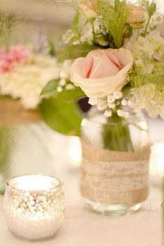 Simple lace and burlap wedding decor, I would put a little flower or a crystal to really make it sparkle