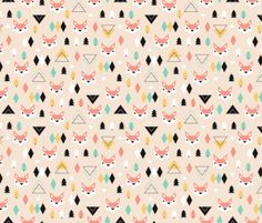 Geometric fox and pine by Littlesmilemakers