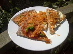 Vegan pizza, 10 minute tomato sauce and vegan white sauce.