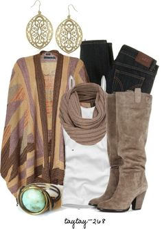 Multi-colored cardigan, white top, brown infinity scarf