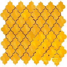 12x12 Mesh Mounted Mamounia Ceramic Tile 3x4 Mosaic - Sunflower Yellow
