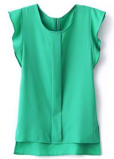Green Puff Sleeve Split Chiffon Blouse