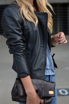 Celine black leather jacket - rocker chic fashion style - parisian