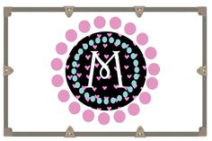 Pink and Black Heart Circle Monogram Decal / Camp Trunk Decal / Car Decal/ Wall Decal / Yeti Decal by RusticGraceCo on Etsy