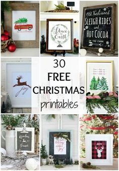 One of the simplest ways to decorate a space for the holidays is with printables! I LOVE these 30 Free Christmas Printables, and hope you do too! See them all at http://ablissfulnest.com/ #FreePrintables #ChristmasDecor #ChristmasPrintables