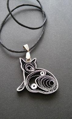 Gato collar negro y plata collar colgante de gato de papel