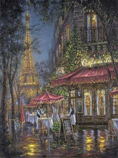 Toast to Paris by Robert Finale features the Eiffel Tower in Paris, France in a limited edition canvas art for sale, hand embellished by the artist Paris Painting, City Painting, Illustration Art, Illustrations, Paris Art, Thomas Kinkade, Photos Voyages, Paintings I Love, Tour Eiffel