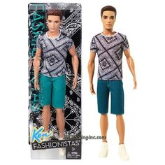 NEW Barbie Fashionista Ken Doll Navy Blue Green Check V-Neck T Shirt Top Clothes