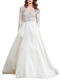 Everyouth Womens VNeck Zipper Long Lace Sleeves Wedding Dress with Pockets Ivory US14 -- Be sure to check out this awesome product.