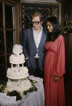 Throwback Thursday: Michael Caine with his wife Shakira, wearing red (oh la la), on their wedding day #celebrity #tbt
