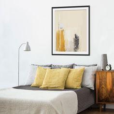 Mustard and Grey Abstract Print, Mustard Yellow Wall Art, Framed Abstract Painting, Modern Minimalist Wall Art Mustard Living Rooms, Mustard Bedroom, Mustard Yellow Walls, Yellow Artwork, Yellow Wall Art, Bedroom Green, Bedroom Decor, Wall Decor, Bedroom Ideas