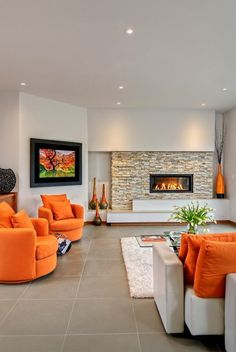 Spaces - Contemporary - Living Room - other metro - by Maric Homes--great fireplace for basement - just eliminate the extra bottom ledge/stair Cozy Living Rooms, Living Room Decor, Home Office Space, Living Room Lighting, Room Lights, Swivel Chair, Home Renovation, Room Inspiration, Living Room Designs