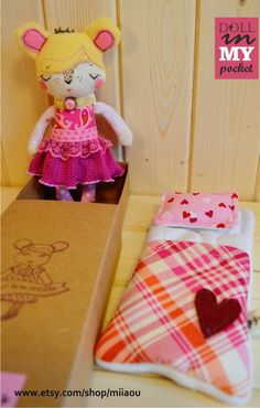 """DIMP(doll in my pocket) mini doll in a sleeping bag- """"Sleeping beauty"""" collection"""