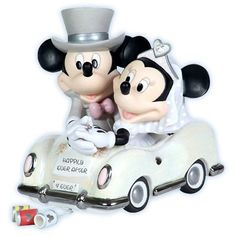 Precious Moments Figurines - Disney - Happily Ever After - Mickey And Minnie in Wedding Car Precious Moments Wedding, Disney Precious Moments, Precious Moments Figurines, Disney Cake Toppers, Disney Cakes, Wedding Cake Toppers, Mickey And Minnie Wedding, Mickey Minnie Mouse, Happily Ever After Disney
