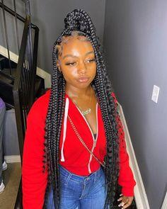 Box Braids Hairstyles, Braided Ponytail Hairstyles, Braided Hairstyles For Black Women, Baddie Hairstyles, My Hairstyle, Protective Hairstyles, Girls Natural Hairstyles, Slick Hairstyles, Ponytail Styles