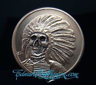 1 OZ Copper Hobo Buffalo Nickel Coin with Skull Artwork!!! .999 Fine