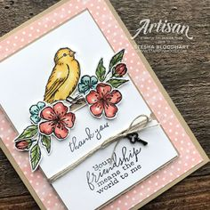 Sneak Peek Free As A Bird Stamp Set by Stampin' Up! Thank You Card by Stesha Bloodhart, Stampin' Hoot! Butterfly Cards, Flower Cards, Bee Cards, Stampin Up Catalog, Friendship Cards, Stamping Up Cards, Get Well Cards, Homemade Cards, Making Ideas
