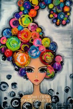 ROMI LERDA, Artista Plástica Argentina Art Populaire, Happy Paintings, Arte Pop, Whimsical Art, Art Plastique, Face Art, Painting Inspiration, Art Girl, Art For Kids