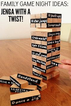 Game Night Ideas: Jenga with a Twist! Family Game Night Ideas: Transform your Jenga game with a fun and very active twist!Family Game Night Ideas: Transform your Jenga game with a fun and very active twist! Backyard Games, Outdoor Games, Outdoor Toys, Outdoor Fun, Jenga Game, Jenga Drinking Game, Family Fun Night, Family Family, Night Couple