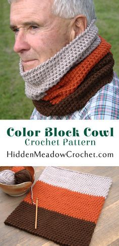 Color Block Cowl Crochet Pattern available from HiddenMeadowCrochet.com Crochet Men, Crochet For Boys, Crochet Gifts, Crochet Scarves, Crochet Shawl, Crochet Hooks, Diy Crochet Projects, Easy Crochet Patterns, Scarf Patterns
