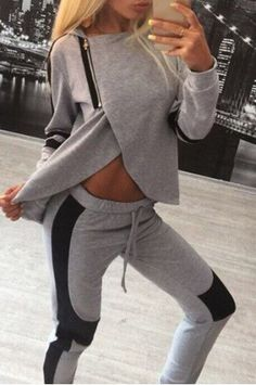 Stylish Hooded Long Sleeve Zippered Irregular Sweatshirt + Drawstring Pants Women's TwinsetActivewear | RoseGal.com