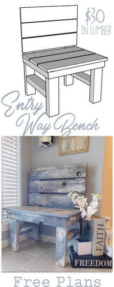 How to build a DIY entry way bench for $30 in Lumber -