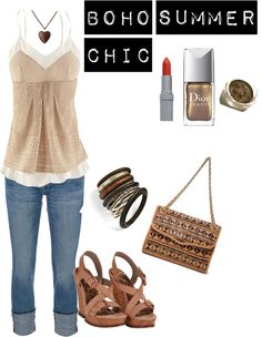 """""""Casual Summer Boho Outfit: Denim Capris & Flowy Tank"""" by mattifycosmetics on Polyvore"""