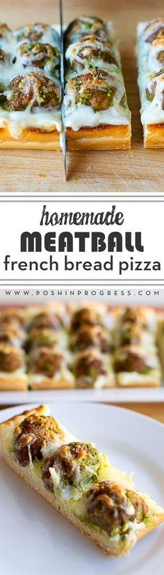 Have you ever made homemade french bread pizza? This version is so easy, quick and delicious, it's perfect for a quick weeknight meal or party appetizer. The cheese sauce, together with the pesto-covered meatballs...YUM! You much try it tonight. #MeatballPerfection [ad]