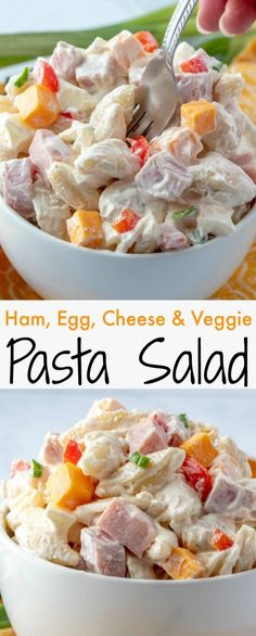 Perfect for any picnic, BBQ, potluck or event! This salad feeds a crowd and it's everyone's favorite! Great for using leftover Christmas or Easter Ham and hard boiled eggs!  Ham, Egg, Cheese and Veggie Pasta Salad Recipe