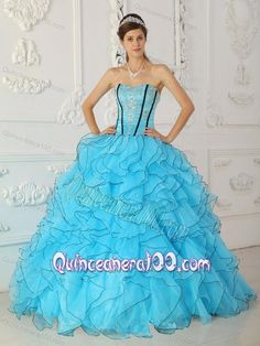 Baby Blue Ball Gown Strapless Floor-length Organza Appliques 16 Party Dress