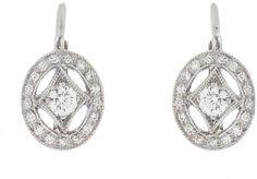 Cathy Waterman Oval Diamond Frame Earrings - Platinum on shopstyle.com