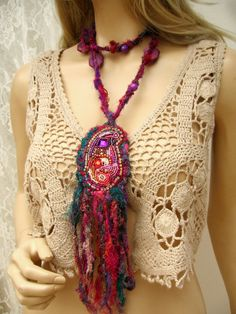Bead embroidery necklace , hippie pendant, romantic boho silk neclace, ornate neclace, gypsy style, hippie silk neclace Elegant, delicate and feminine.   pendant 26cm x 6-7cm   Dimension: Total length : 100 cm /39 inch Pendant with fringes : 26 cm(10 inches) x 6-7 cm (2.4-2.8 inch ) approximately  This romantic necklace has been made of the composition of silk and beads. Pendant is embroidered with glass beads. Unique paisley pattern, unique oriental appearance. one of a kind Perfect fo...