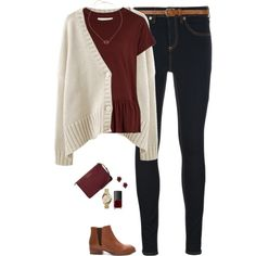 Burgundy peplum tee, cream cardigan & dark denim