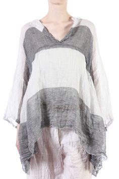 Daniela Gregis    Macro stripe wide shirt  Extra-wide washed linen gauze shirt with macro stripe pattern, boat neck with slit, bracelet length kimono sleeves, slit pockets at sides  588.00 €   100% linen
