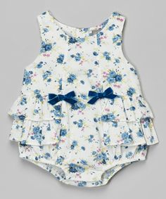 Look at this Blue Floral Ruffle Bubble Romper - Infant on #zulily today!