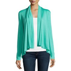 Lafayette 148 New York Long-Sleeve Draped-Front Cardigan ($155) ❤ liked on Polyvore featuring tops, cardigans, spearmint, drapey cardigan, long sleeve tops, draped open front cardigan, blue long sleeve top and long sleeve open front cardigan