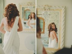 amazing wedding dress - the bride looks like a goddess with her tumbling curls!