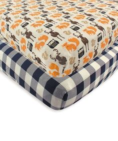 Hudson Baby Orange & Black Forest Fitted Crib Sheet - Set of Two Baby Crib Sheets, Baby Cribs, Baby Vision, Baby Orange, Plaid Design, Mattress Brands, Crib Mattress, Unisex Baby, Baby Clothes Shops