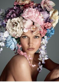 flowers in her hair. she must be going to San Francisco! kn