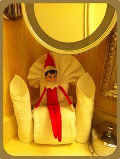 Elf on the Shelf: Towel origami ~ December 2012.