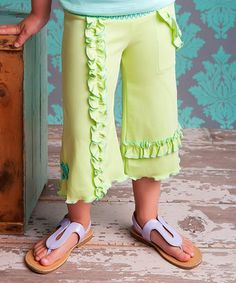 Look what I found on #zulily! Shadow Lime Capri Gaucho Pants - Toddler & Girls by Lemon Loves Lime #zulilyfinds
