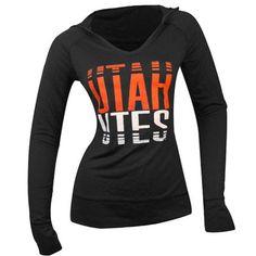 Utah Utes Womens Lightweight Hooded T-Shirt (Black)