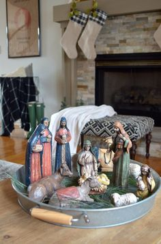 Neutral Christmas Home Tour and Manger Scene