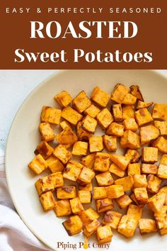 These Air Fryer Roasted Sweet Potatoes are so easy and delish. With their crispy exterior and tender interior, they are the perfect side to any dish   Air Fryer Sweet Potatoes   healthy Air Fryer recipes   #sweetpotatoes #roastedsweetpotatoes #airfryerrecipes   pipingpotcurry.com Roasted Sweet Potato Cubes, Sweet Potato Side Dish, Sweet Potato Recipes Healthy, Sweet Potatoe Bites, Potato Sides, Potato Side Dishes, Healthy Snacks, Healthy Recipes, Air Fry Recipes